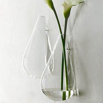 Wall-mounted Water Drop Shape Glass Vase Garden Hydroponice Plants