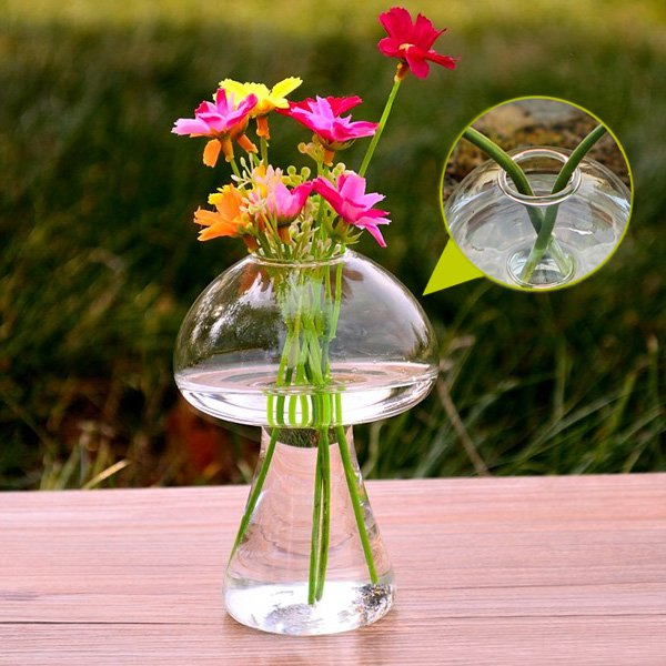 Mushroom Shape Hydroponic Plants Flower Glass Vase Home Decor