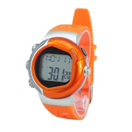 New! Stylish Sporty Pulse Heart Rate Monitor Built In ECG Sensor, Calorie Counter - Orange