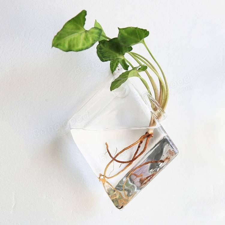 Wall-mounted Rhombus Glass Flower Vase - 2 Pcs Set