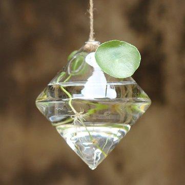 Hanging Diamond Shaped Glass Flower Vase - 2 pc set