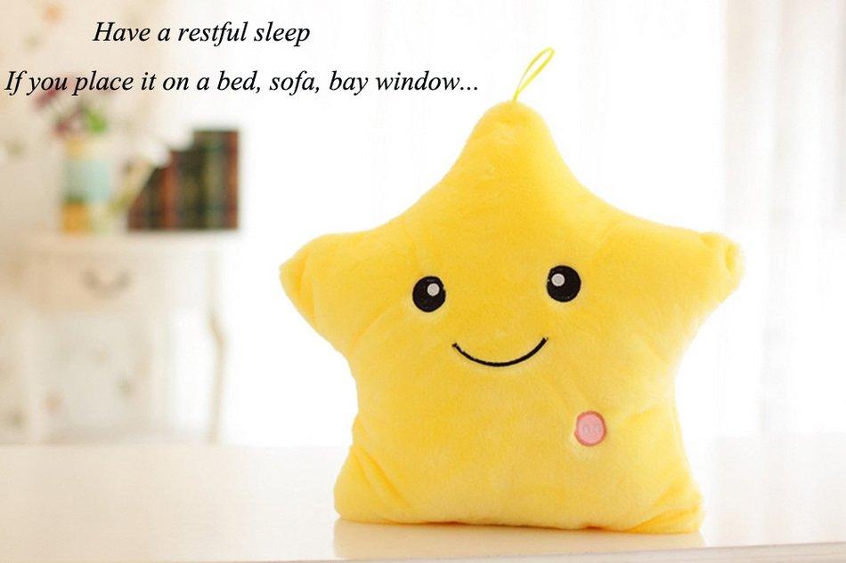 Plush Colorful LED Light Star Shape Throw Pillow