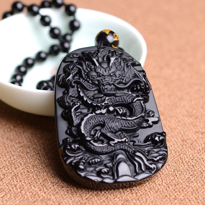 Fine carving Natural Black Obsidian Carved Dragon Lucky Amulet Pendant