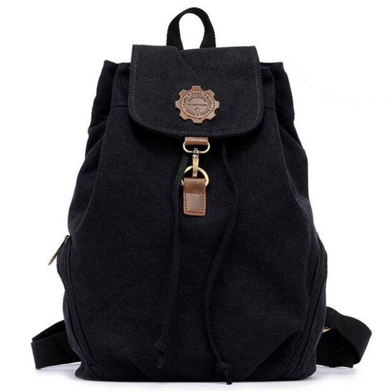 KAUKKO 13L Retro Style Canvas Backpack  -  BLACK