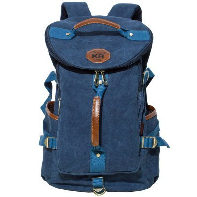 KAUKKO FS224 23L Casual Style Unisex 100% Canvas Backpack - BLUE
