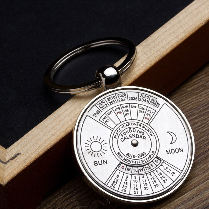 2010 To 2060 Years Perpetual Calendar Metal Key Chain Personalized Key Ring