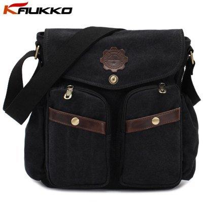 KAUKKO 6L 100% Canvas Casual Single Bag for Men/Women - Black/Khaki/Army Green