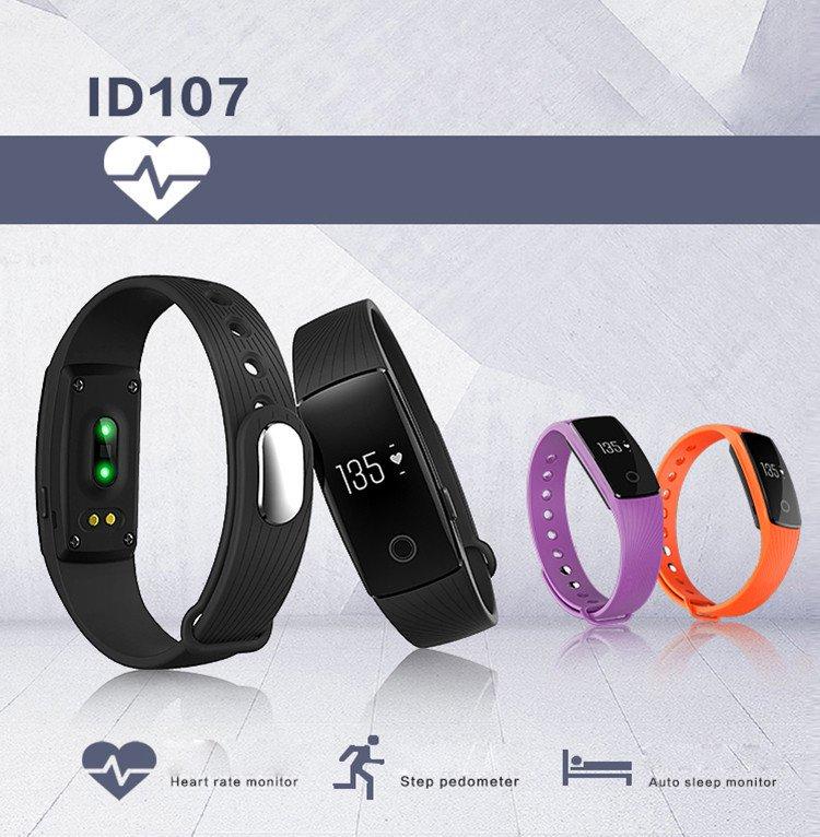 ID107 Smart Bracelet Heart Rate Fitness Health Tracker Pedometer Calorie Sleep Tracker - Black
