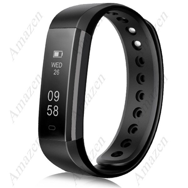 ID115HR Smart Bracelet Heart Rate/Pedometer/Sleep/Calorie Monitor Fitness Health Tracker - Black