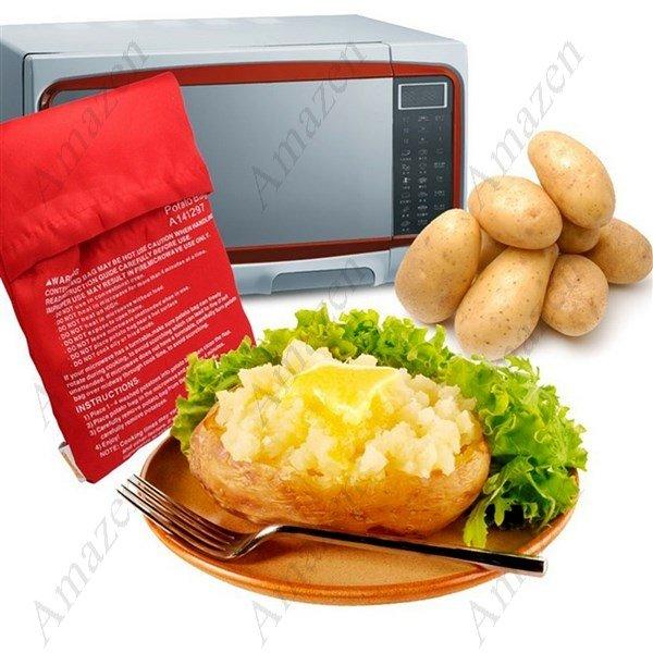Microwave Potato Bag Reusable Easy Convenient for Potato/Corn/Carrot Cooker - 2Pcs
