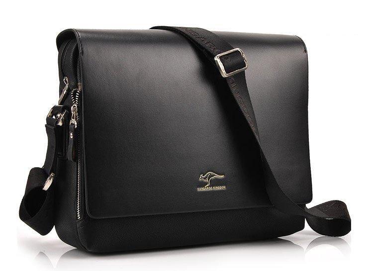 2017 NEW Fashion Designer PU Leather Shoulder Bag for Men - Black (Large H)