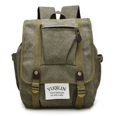 Drawstring Canvas Backpack - Army Green