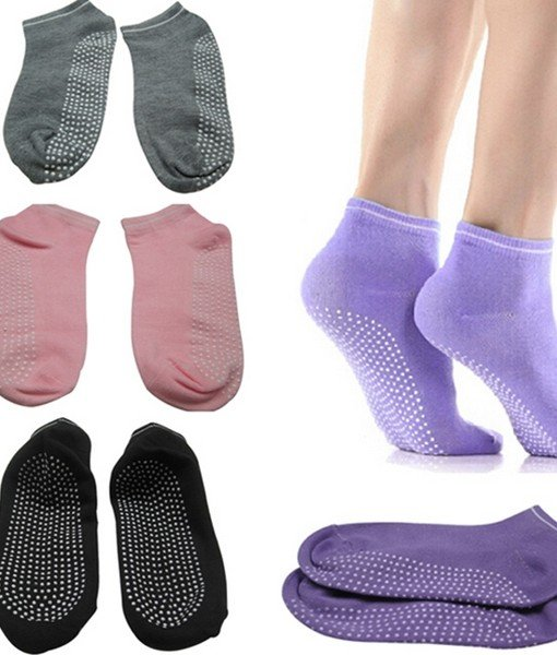 Pilates Yoga Anti Not Slip Grip Cotton Socks - 3 Pairs