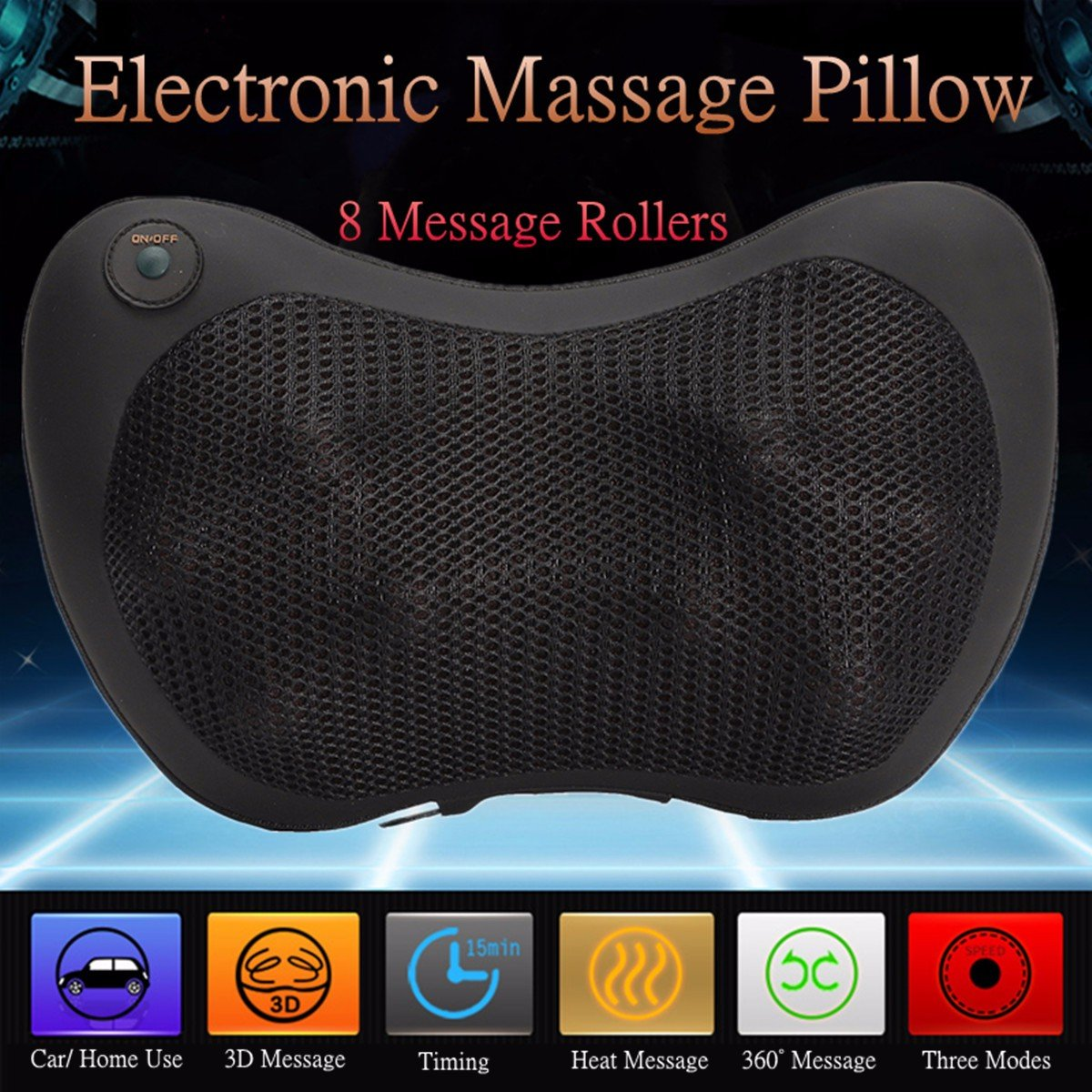 2017 New Item! 8 Rollers Personal Heating Kneading Massage Pillow!