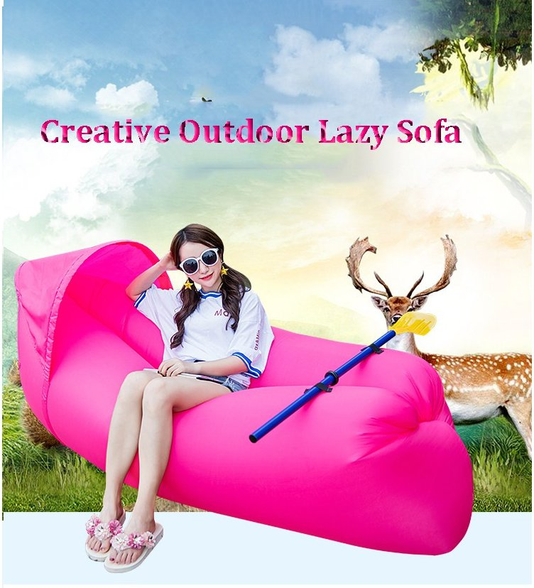 NEW! Lazy Sofa Inflatable Camping Beach Lay Bag Recliner With Sunshade Cap