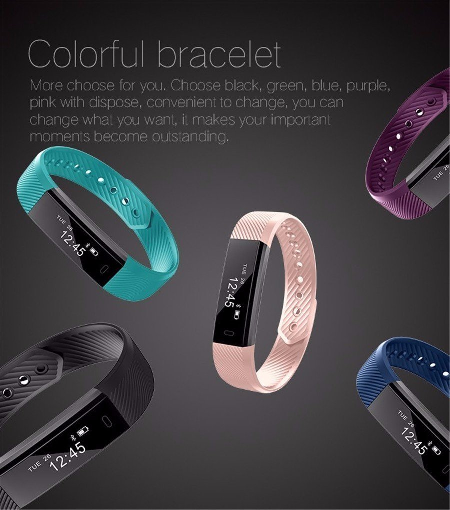 2017 Latest Model! ID115 Smart Bracelet Fitness Health Tracker Pedometer Calorie Sleep