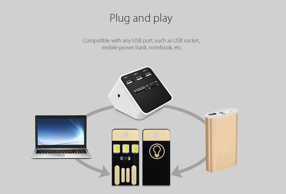 5PCS USB LED Mini Flashlight  - WHITE LIGHT