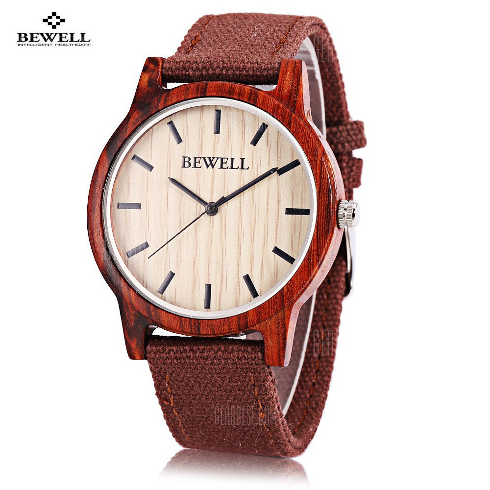 Bewell ZS Unisex Quartz Watch Japan Movt Wooden Case Canvas Band Wristwatch
