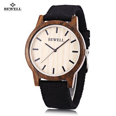 Bewell ZS Unisex Quartz Natural Wood Watch Japan Movt with Canvas Band Wristwatch