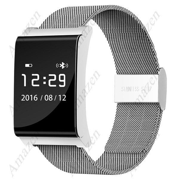 X9 Plus Smart Bracelet Oximeter Blood Pressure Heart Rate Health Tracker - Black/Silver+Steep Strap
