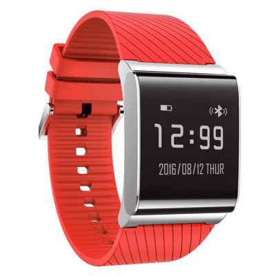 X9 Plus Smart Bracelet Oximeter Blood Pressure Heart Rate Health Tracker - Red+Rubber Strap