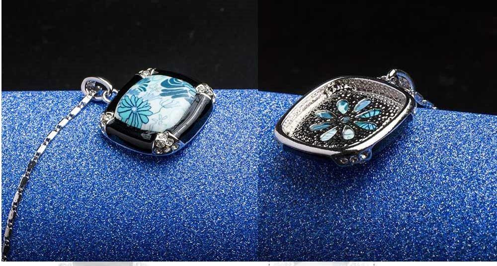 Porcelain Pattern Austrian Crystal Ladies Pendant Necklace