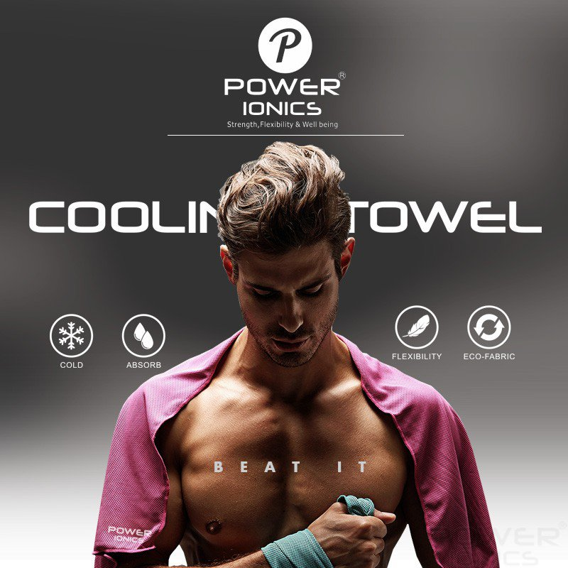 Power Ionics Cooling Ice Cold Towel For Sports, Gym, Yoga, Pilates, Tennis, Basketball