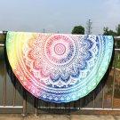 Mandala Lotus Lotus Printed Long Fringe Round Beach Throw