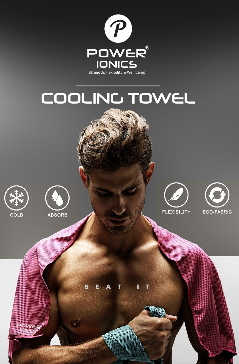 3 pcs - Power Ionics Cooling Ice Cold Towel For Sports, Gym, Yoga, Pilates, Tennis, Basketball