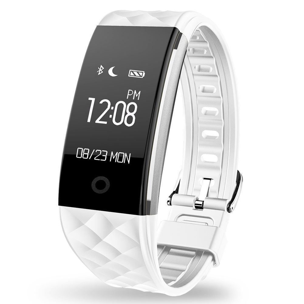 S2 Dynamic Smart Health Fitness Bracelet Heart Rate Pedom/Sleep/Calorie Music/Remote Cam IP67 WHITE