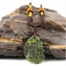 Natural Green Moldavite Aerolites Crystal Stone Pendant with Free Necklace