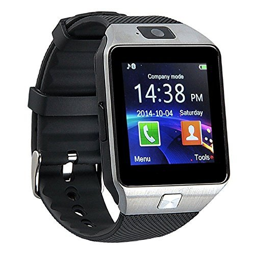 DZ09 Smart Watch Phone Fitness Tracker Make Receive Calls Media Voice Record - Silver+Black band