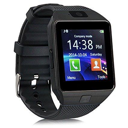 DZ09 Smart Watch Phone Fitness Tracker Make Receive Calls Media Voice Record - Black