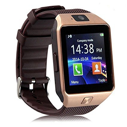 DZ09 Smart Watch Phone Fitness Tracker Make Receive Calls Media Voice Record - Golden Brown