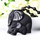 Natural Black Obsidian Carved Mother ad Baby Cute Elephant Amulet Lucky Pendant with Free Necklace