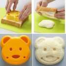 2 pcs Little Bear Shape Sandwich Mould Bread Cake Mould DIY Bear Bread Cutter