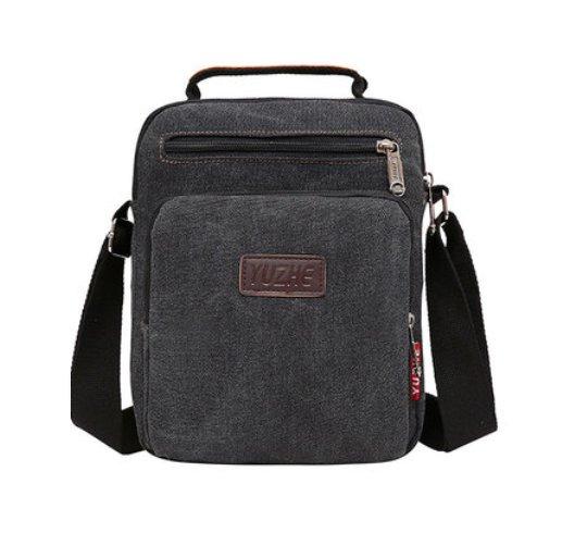 Canvas Sling Bag Messenger Bag Small Travel Crossbody Bag - Black