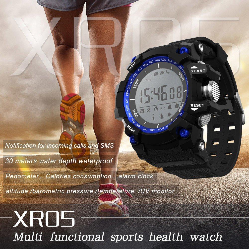 XR05 Smart Digital Watch Pedometer Sleep Monitor Altimeter Temperature UV - Black