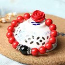 Natural Cinnabar Prayer Beads Lucky Rose Bracelet Tibetan Buddhist