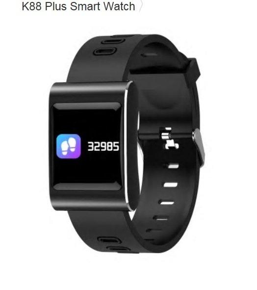K888 Plus Heart Rate Monitor Blood Pressure Blood Oxygen IP68 Smart Watch - Black