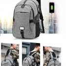 Men Stylish Modern Casual Canvas Backpack with USB Port  - BLACK