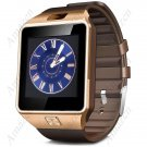 DZ09 Smart Watch Phone Make/Receive Calls Pedo Sleep Sedentary Remind Remote Cam - Golden Brown