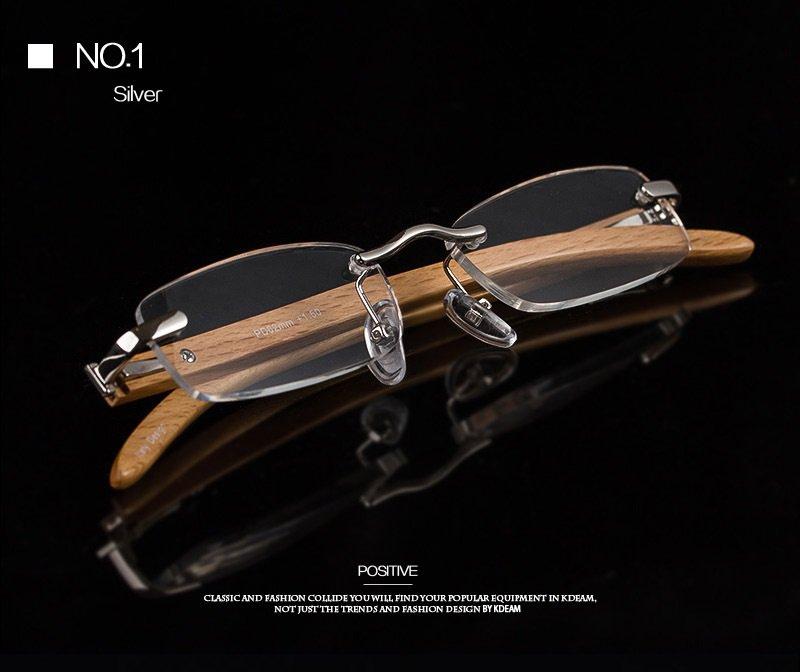 KC Anti Impact Anti Glare Reading Glasses Polycarbonate Lens, Wood Frame (Silver)