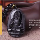 NATURAL BLACK OBSIDIAN CARVED BUDDHA AMULET PENDANT + FREE NECKLACE