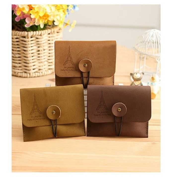 3Pcs Lot CHIC Tower Suede leather Wallet / Storage mini bag / Coin, Key small pouch