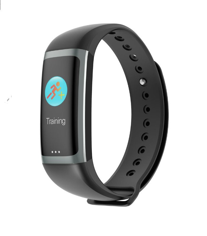 0.96 IPS Color Display Heart Rate Blood Oxygen Pressure Multi Sport Fitness Smart Bracelet - Black