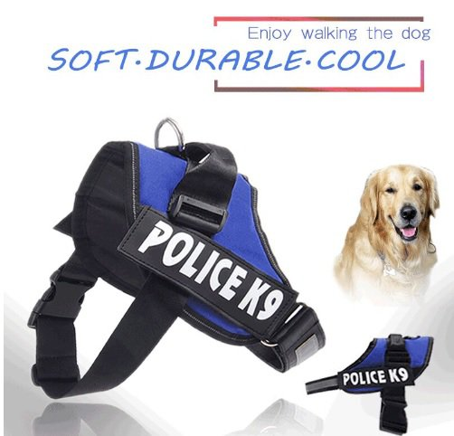 Dog Harness with Reflective Patches - Police K9 (Black)