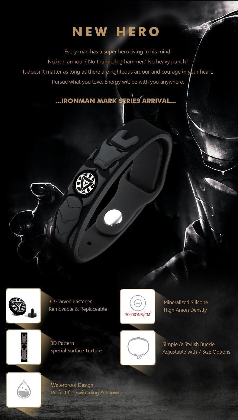 Iron Man Super Hero Power Ionics 3000 ions 4in1 Titanium Germanium Tourmaline F.I.R Energy Bracelet
