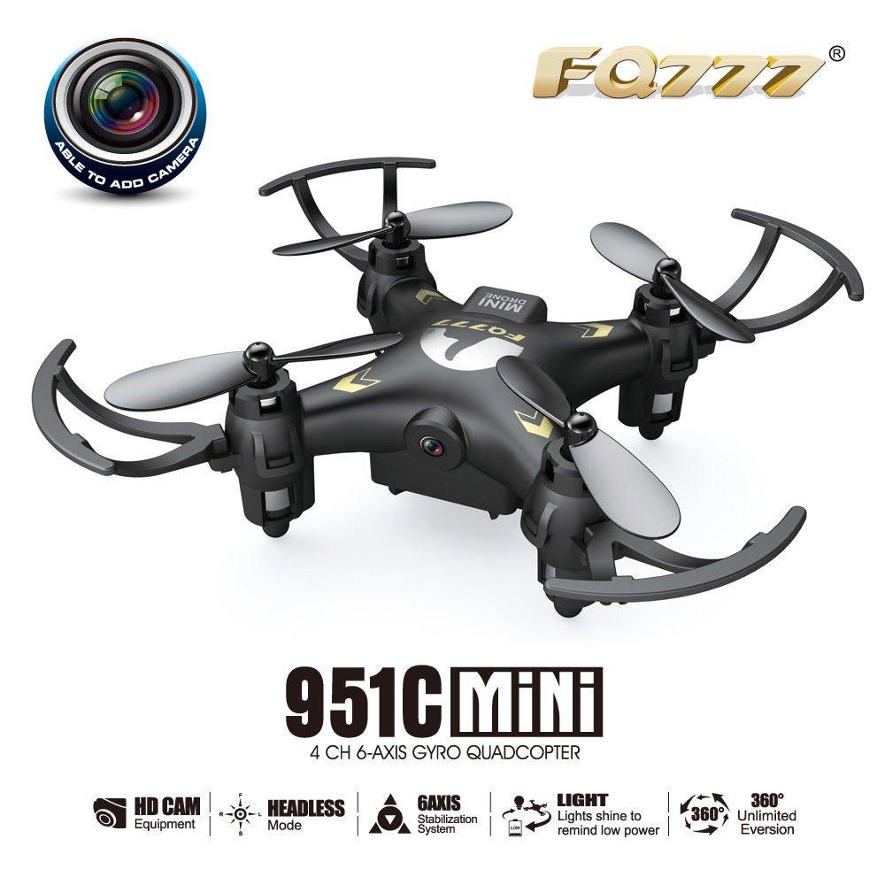 FQ777-951C Headless Mode c/w 0.3MP Camera 2.4GHz 4CH 6-Axis Gyro RC Quadcopter RTF 3D-flip- Black