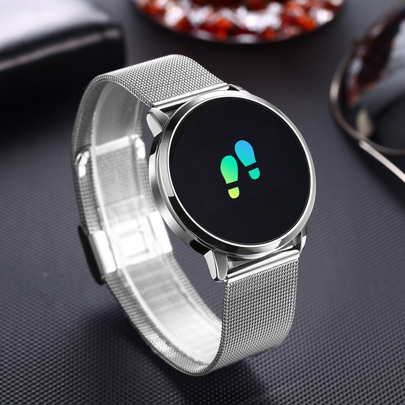 Q8 Stainless Steel OLED  Heart Rate Blood Pressure Fitness Tracker Smart Watch - Silver Steel